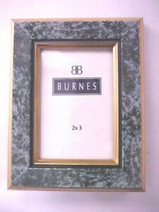 Burnes of Boston 2 x 3 Picture Frame Gold and Green Marble Print Easel Back New