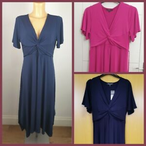 NEW Ex Bonmarche Ladies Short Sleeve FIT and FLARE Dress Navy Pink  Size 12 - 28