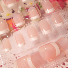 24Pcs Lady Women's French Style DIY Manicure Art Tips False Nails with Glue frj