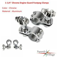 "Pair 1-1/4"" Chrome Motorcycle Engine Guard Footpeg Clamps For Harley Davidson"