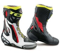 STIVALI BOOTS MOTO RACING TCX RT-RACE PRO AIR WHITE RED YELLOW FLUO TORSION  43