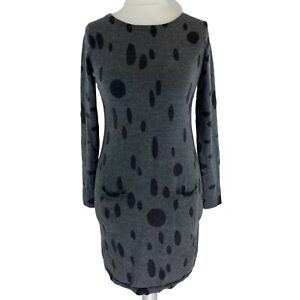Boden Grey Wool Stretchy Knitted Jumper Dress with Pockets UK Size 10R EXC CON