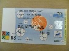 Coupe du Monde 1998 Tickets Stubs-Pays-Bas/Belgique, 13 Juin, Match - 8 (ORG, EX *)