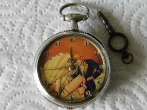 montre gousset érotique en argent uhr erotik watch erotic fonctionne TB