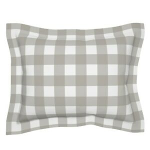 Plaid Modern Farmhouse And White Buffalo Check Gingham Pillow Sham by Roostery