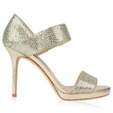 Jimmy Choo 'Alana' Champagne Glitter Heels Sandals Strappy Shoes EU 38.5 Uk 5.5