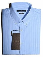 "GUCCI Button-down Pocket Shirt, Light Blue/White 15"" ITALY $470"