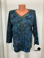 Chicos cotton embellished  v neck knit Top pull over floral tropical size 1