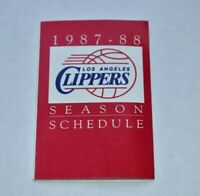 1987-88 NBA Pocket Schedule Los Angeles Clippers LAC Basketball
