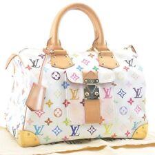 LOUIS VUITTON Monogram Multicolor Speedy 30 White Hand Bag M92643 LV Auth 2386