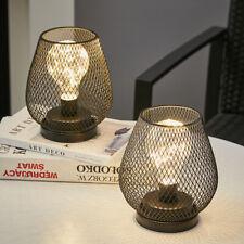 More details for 2pc table lamp cage retro design bedside reading stand room desk bedroom lights