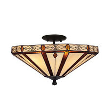 Bronze Style Tiffany Style Glass Semi Flush Ceiling Lights - Christmas Gift