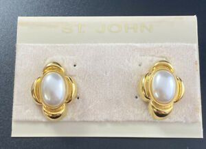 Vintage St. John Gold Plate & Faux Pearl Cab Ornate Clip On Earrings