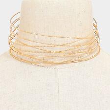 "16"" gold layered tiered choker collar bib necklace 1.50"" width"