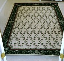 Shabby Chic French Country 5'x8' Green And White Rug/New