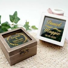 Personalized Ring Box Wedding Wooden Square Rustic Jewelry Keepsake Holder Gift