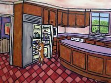 Basenji Sleeping Raiding The Fridge kitchen Dog Art Note Cards