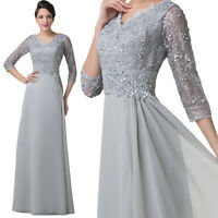 Womens Grey Lace Sleeve Wedding Bridesmaid Dresses Long Evening Party Prom Gowns