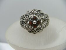 Vintage Sterling Silver Filigree Garnet Marcasite Ring SZ 8.75 Flower