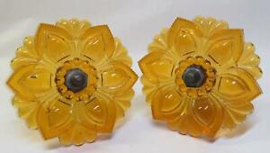 """Pair Antique Amber EAPG Sandwich Glass Curtain Drapery Tie Backs LARGE 4 1/4"""" #2"""