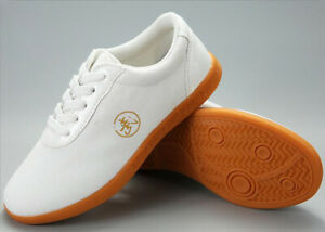 Martial Arts Shoes Trainers Tai Chi Kung Fu Sneakers Canvas Taolu Footwear White