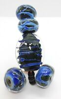 "Handmade Lampwork Glass Bead Set w/ Lg Focal ""Caerulas"" TWLglass, SRA, 5pc"
