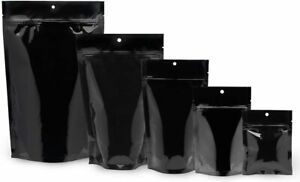 100 pcs Glossy Black Mylar Nylon Flat & Stand Up Pouch Zip Lock Smell Proof Bags