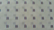 Vintage Single Knit Poly Fabric Pattern Blue White Coral Colors 12 Yards