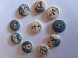 NAUTICAL BUTTONS 15 mm x 10 Cute little nautical buttons Sailing boat buttons Wooden coastal style buttons Wooden nautical theme buttons