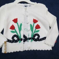 Hartstrings girls size 4 sweater, white with red and navy new w/tags