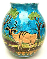 Zimbabwe Penzo Pottery Vase African Tribal Art Hand Made Animals1996
