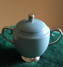 Vtg Flintridge China Footed Sugar Bowl W/Lid 2 Handles,Strata Blue, Platinum