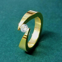 TITANIUM 5mm Wide Bypass Tension GOLD PLATED RING with 4.5mm Round CZ, size 8