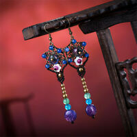 Retro Ethnic Style Crack Agate Handmade Weave Earrings Wedding Gift Accessories
