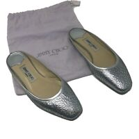 Jimmy Choo Silver Glitter Perforated Leather Backless Slip On Ballet Flats Shoes