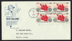 #1261 5c Battle of New Orleans-Block of 4, HF FDC ANY 5=