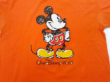 Walt Disney world orange with large mickey mouse graphics T-shirt size 2X