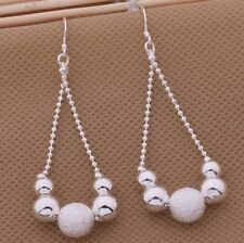 925 Sterling Silver Round Bead Drop Dangle Hook Pierced Earrings Women's Jewelry