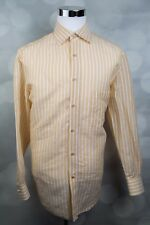 Men's ISAIA NAPOLI Linen/Cotton Mustard Yellow Button Up Shirt Sz 16 / 41