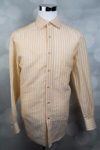 Men's ISAIA NAPOLI Linen/Cotton Mustard Yellow Button Up Shirt Sz 16 / 41