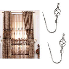 2x Strong Metal Spiral Curtain Drapery Hooks Window Tieback Hanger Silver