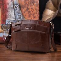 Genuine Leather Women Shoulder Bag Vintage Multi Pocket Female Small Handbag