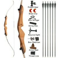 """68"""" Recurve Bow Takedown 16-38lbs Archery Target Wooden Right Hand Hunting Game"""