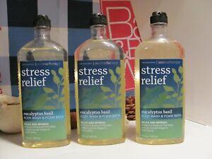 Bath and Body Works 3 Aromatherapy ~STRESS~ Eucalyptus Basil Body Wash