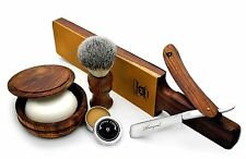 Vintage Style Men's Shaving/Grooming Set of 6 Pieces Made From Pure Rose Wood.