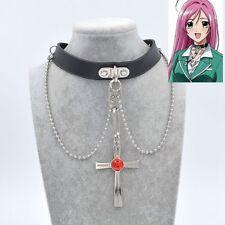 Cosplay Rosario Vampire RosaVam Moka Akashiya Cross Necklace Black