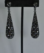 KIRKS FOLLY BLACK CRYSTAL POST STYLE EARRINGS  GUN METAL  TONE
