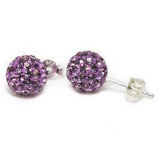Genuine Sterling Silver 6mm Shamballa Crystal Ball Stud Earrings Light Amethyst
