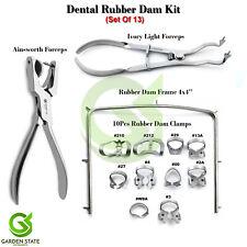Dental Starter 13pcs Rubber Dam Kit Frame Punch Clamps Forceps Dentistry Isolate