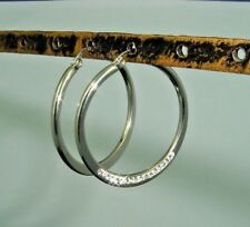 hoop earrings in shiny silver color stainless steel with cz crystals 1735